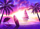 Tropical beach at sunset with sailboat, palm trees, chaise longue, surfboard. Vector illustration of EPS10 with vibrant colors.