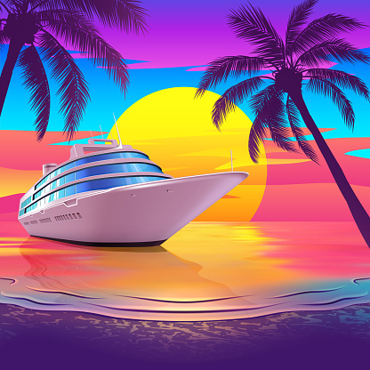 Tropical Beach at Sunset with Yacht and Palm Trees