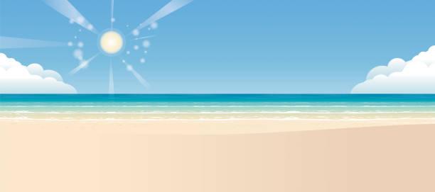 bildbanksillustrationer, clip art samt tecknat material och ikoner med tropisk strand bakgrund och sand - spain solar