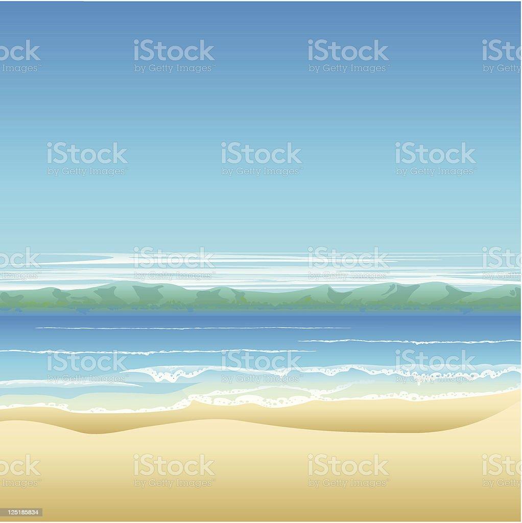Tropical beach background illustration vector art illustration