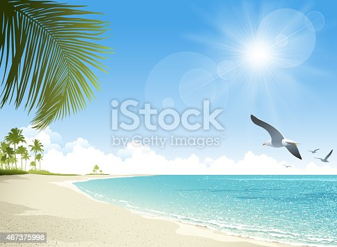 Tropical beach background. EPS 10 file contains transparencies. File is layered, global colors used. Please take a look at other work of mine linked below.