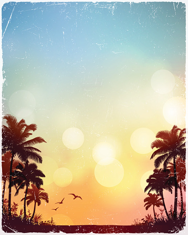 Tropical beach background.Eps 10 file with transparencies.File is layered with global colors.Only gradients used.Hi res jpeg included.More works like this linked below.