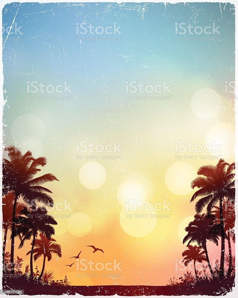 Tropical Beach Background vector art illustration