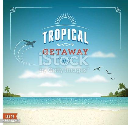 Tropical vacation background.Eps 10 file with transparencies.File is layered with global colors.Only gradients and blur(clouds) used.Hi res jpeg without text included.More works like this linked below.