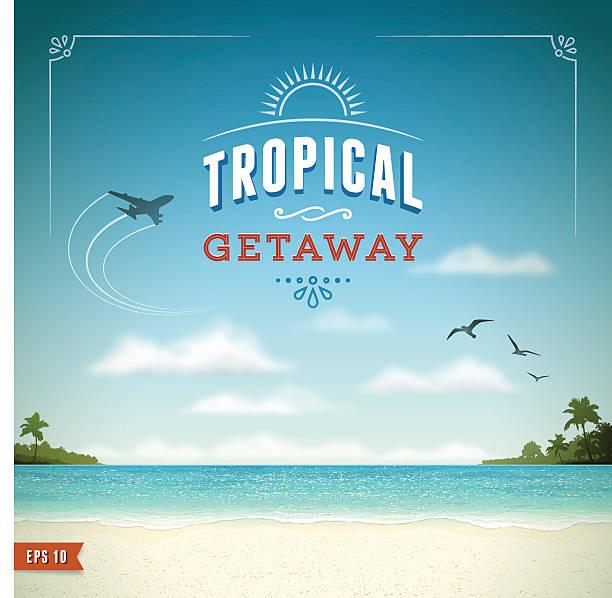 tropikalna plaża tle - horyzont stock illustrations