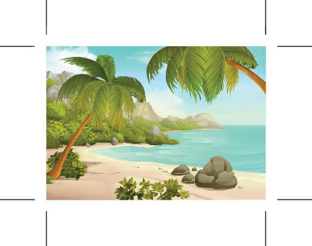 tropischen strand hintergrund - buchten stock-grafiken, -clipart, -cartoons und -symbole