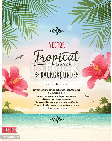 Tropical summer vacation background with tranquil sea, hibiscus, white sand beach, islands, palm trees, palm leaves and text.File is layered with global colors.Only gradients and blur(clouds) used.Hi res jpeg without text included.Fonts used: Jack and Zoe Font Collection. More works like this linked below.
