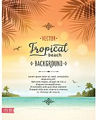 Tropical summer vacation background with tranquil sea,  white sand beach, islands, palm trees, palm leaves and text.File is layered with global colors.Only gradients and blur(clouds) used.Hi res jpeg without text included.Fonts used: Jack and Zoe Font Collection. More works like this linked below.