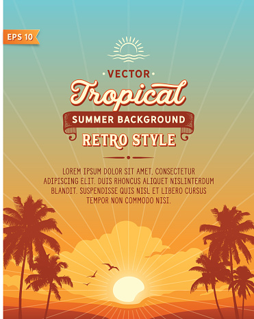 Tropical summer vacation background with palm trees, sunset and text. File is layered with global colors.Hi res jpeg without text included.Fonts used: Hanley Font Collection.
