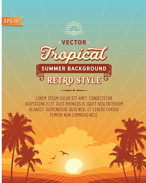 tropikalna plaża tle - zachód słońca stock illustrations