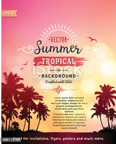 Tropical summer vacation background with palm trees, summer sky, seagulls and text.File is layered with global colors.Only gradients and blur(clouds) used.Hi res jpeg without text included.Fonts used: Jack and Zoe Font Collection. More works like this linked below.