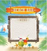 Tropical beach bar  - signboard surfboard and paper banner for menu - summer holidays vector design.
