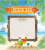 Tropical beach bar  - signboard surfboard and paper banner for menu - summer holidays vector design.