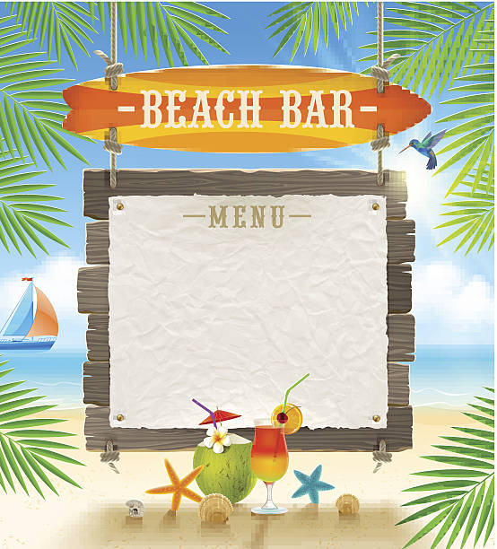 Tropical beach bar signboard and banner for menu vector art illustration