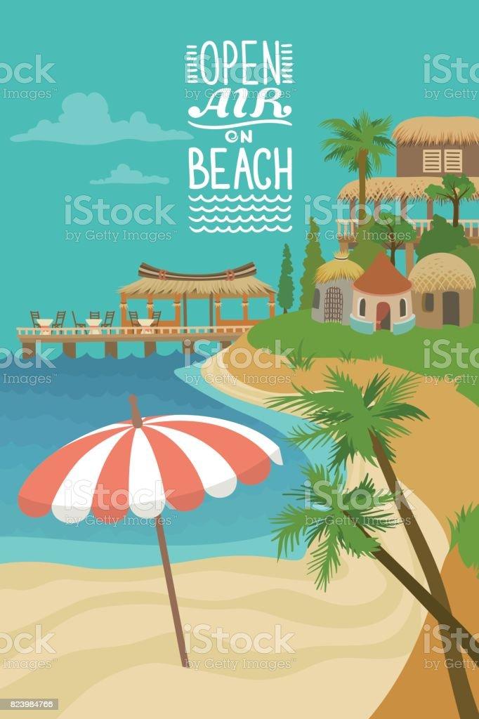 Tropical Beach Cartoon Poster vector art illustration