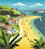 Holiday/vacation scene with villas, water sports and beach.