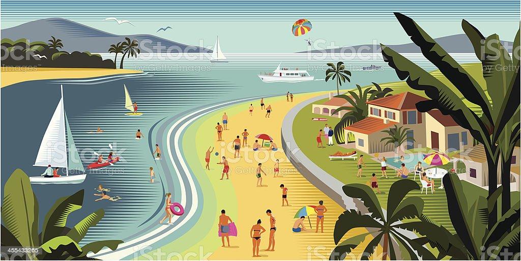 Tropical vacances de plage et sports nautiques - clipart vectoriel de Arbre libre de droits