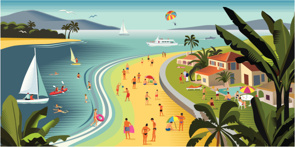 Tropical Beach Holiday With Water Sports Stock Illustration - Download Image Now