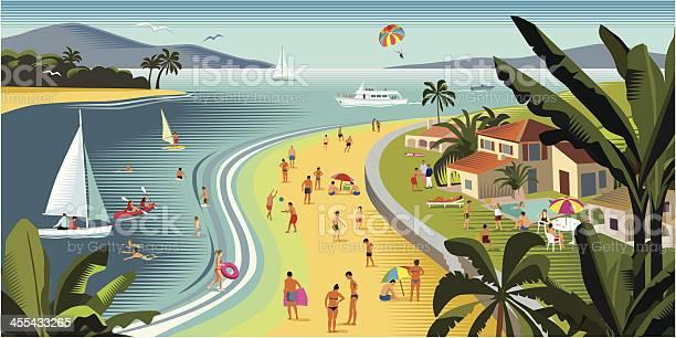 Tropical Vacances De Plage Et Sports Nautiques Vecteurs libres de droits et plus d'images vectorielles de Arbre