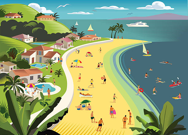 Tropical Beach Holiday with water sports Holiday/vacation scene with villas, water sports and beach. Loads of detail, can use just a section or the whole thing. Fully editable and all labeled in layers villa stock illustrations