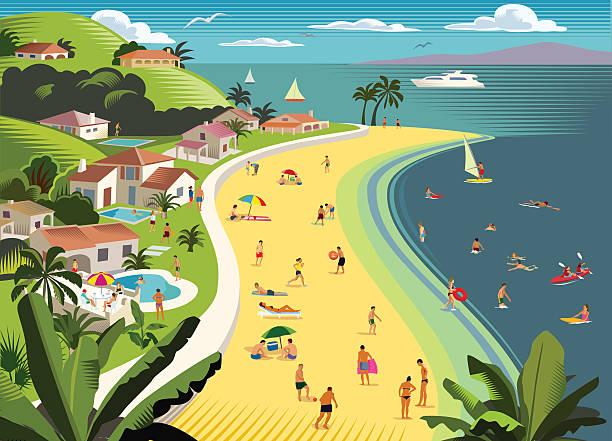 tropischen strand urlaub mit wassersport - villas stock-grafiken, -clipart, -cartoons und -symbole