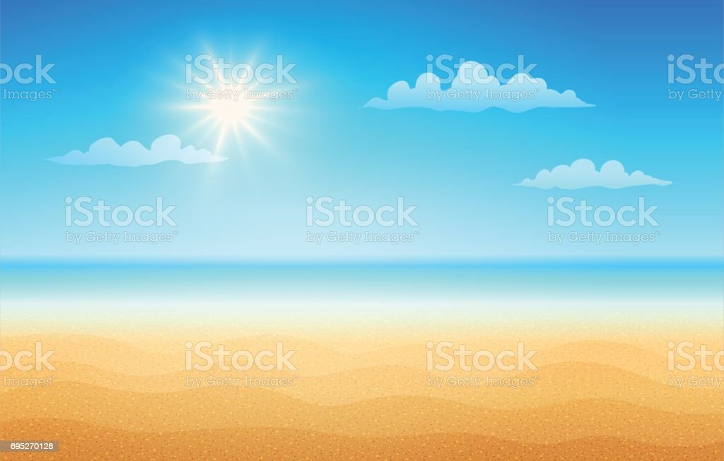 Tropical beach in sunny day. vector art illustration