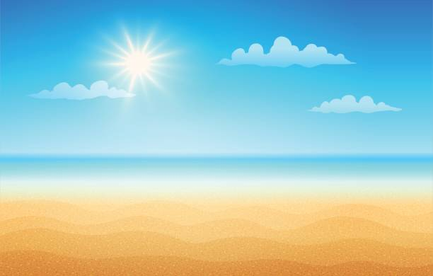 stockillustraties, clipart, cartoons en iconen met tropisch strand in zonnige dag. - zonnig
