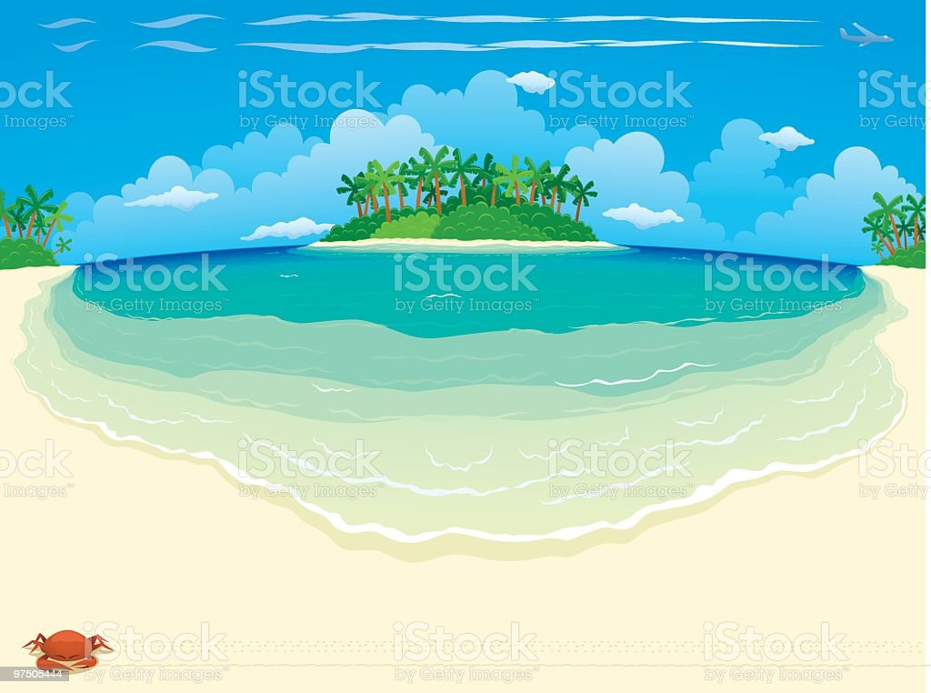 Tropical Beach & Island - Wide royalty-free tropical beach island wide stock vector art & more images of absence