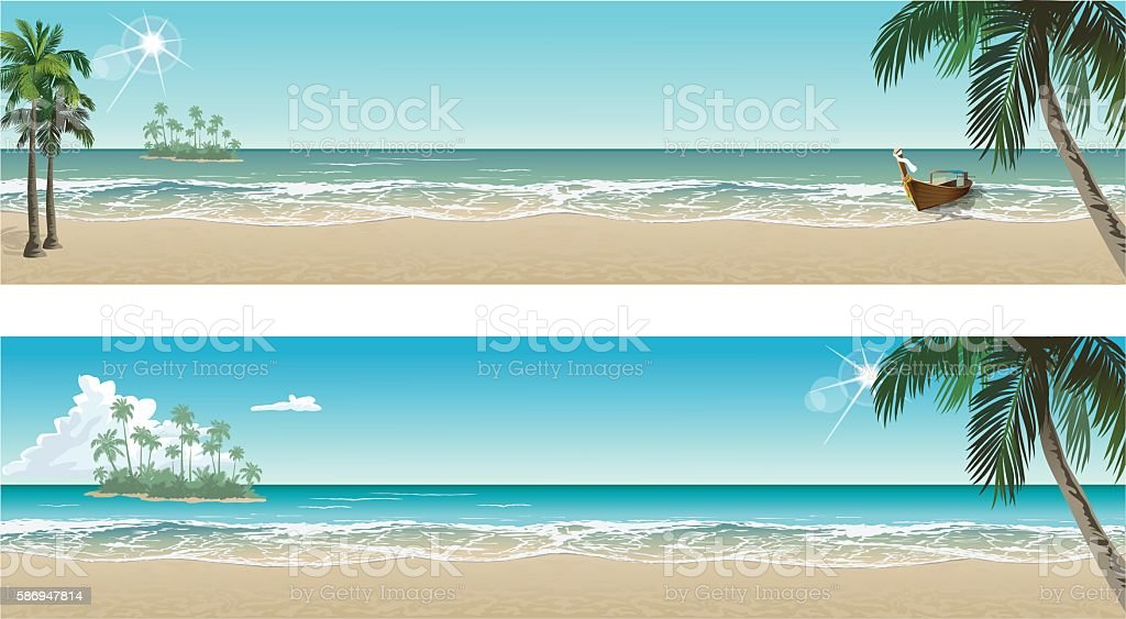 Tropical beach paradise. Vector seaside view posters vector art illustration