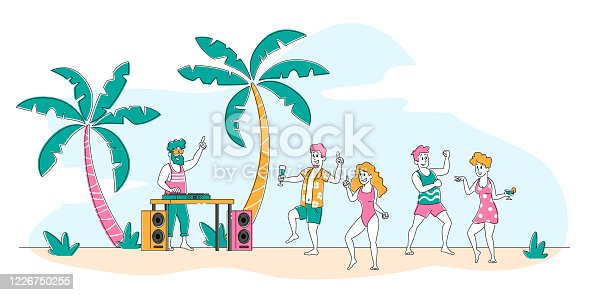 istock Tropical Beach Party with People Relaxing at Hot Summer Time. Young Men and Women Enjoying Dancing Activity at Sandy Seaside with Dj Playing Music. Young Characters Leisure. Linear Vector Illustration 1226750255