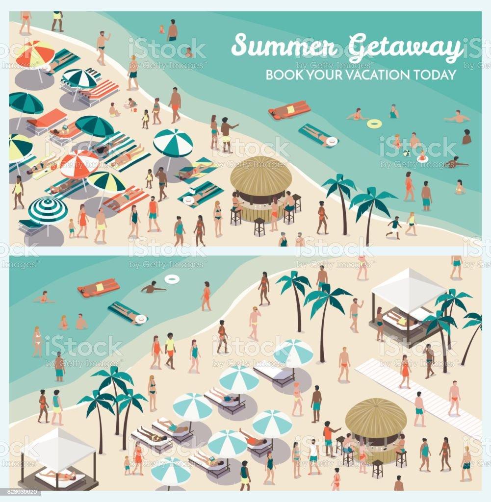 Resort de praia tropical com as pessoas - ilustração de arte em vetor