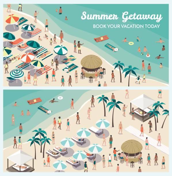 ilustraciones, imágenes clip art, dibujos animados e iconos de stock de resort de playa tropical con personas - vacaciones familiares