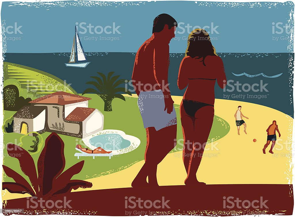 Tropical Beach Romance royalty-free stock vector art