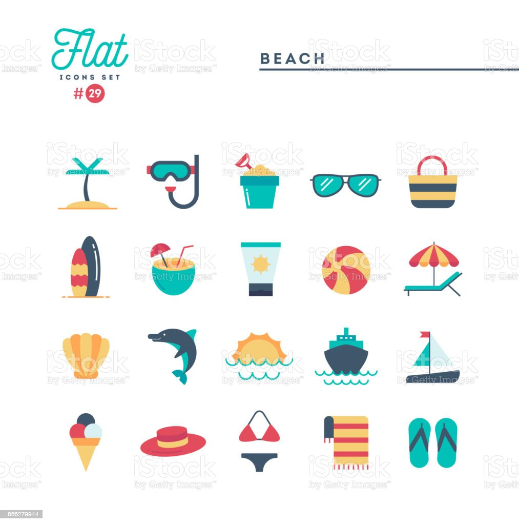Tropical beach, summer, vacation, cruising and more, flat icons set vector art illustration