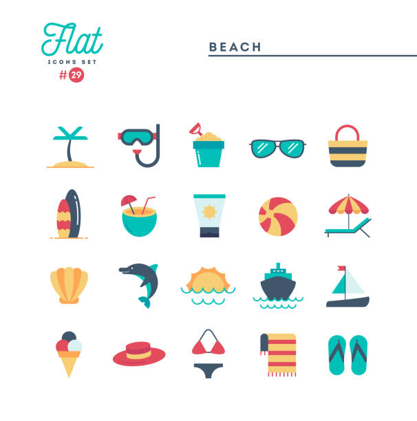 Tropical beach, summer, vacation, cruising and more, flat icons set Tropical beach, summer, vacation, cruising and more, flat icons set, vector illustration seyahat noktaları illustrationsları stock illustrations