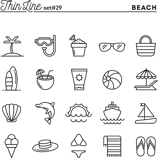 Tropical beach, summer, vacation, cruising and more Tropical beach, summer, vacation, cruising and more, thin line icons set, vector illustration seyahat noktaları illustrationsları stock illustrations