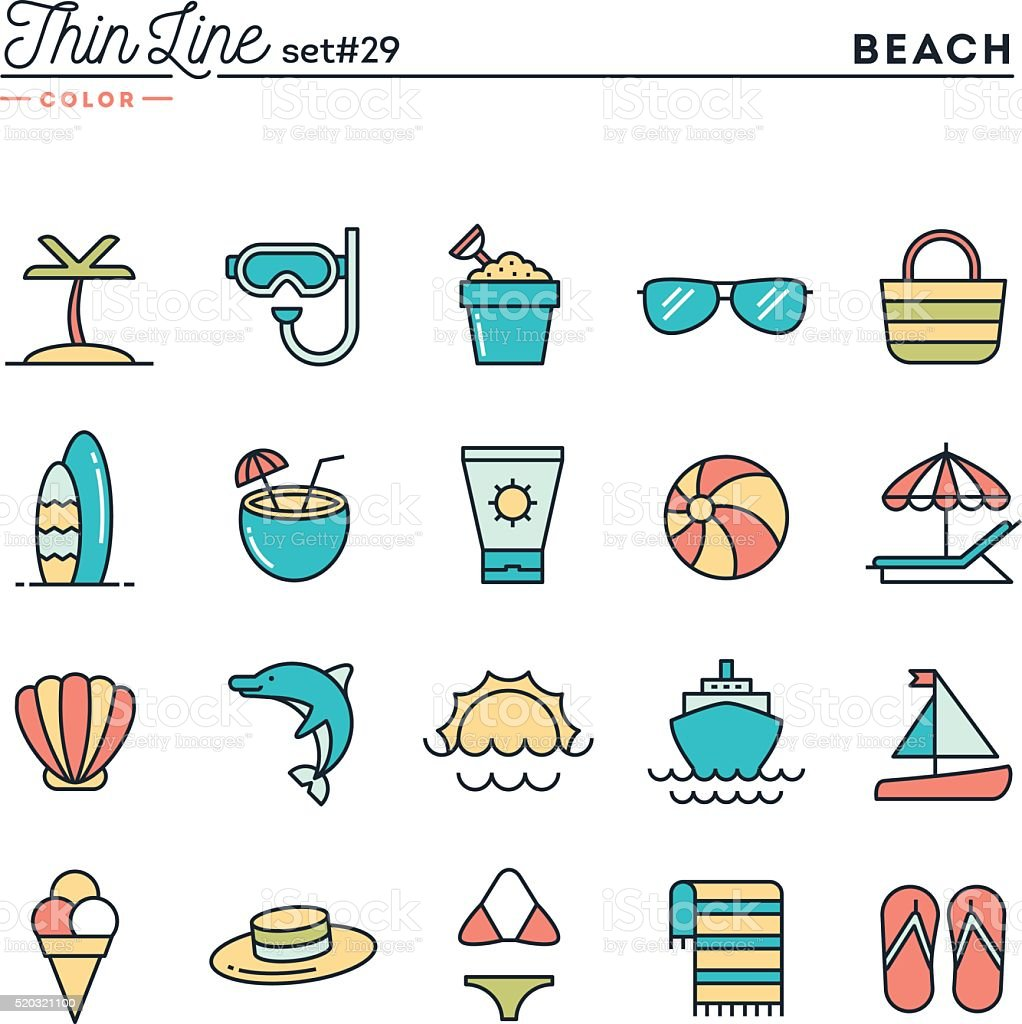 Tropical beach, summer, vacation, cruising and more vector art illustration