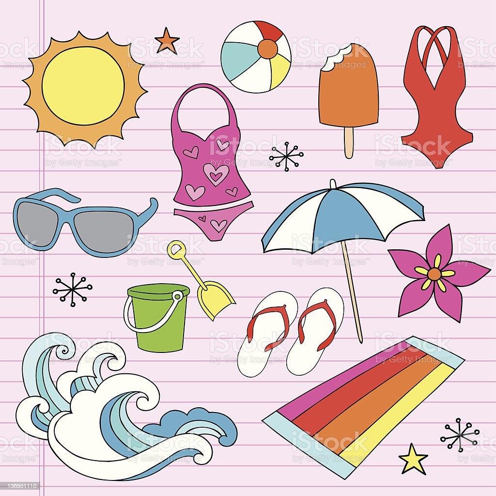 Tropical Beach Summer Vacation Doodles Set Stock Vector
