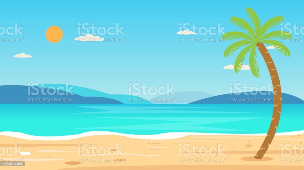 Tropical Beach Travel Holiday Vacation Leisure Nature Concept vector illustration.Beautiful seascape  and sky background.Travel concept. vector art illustration