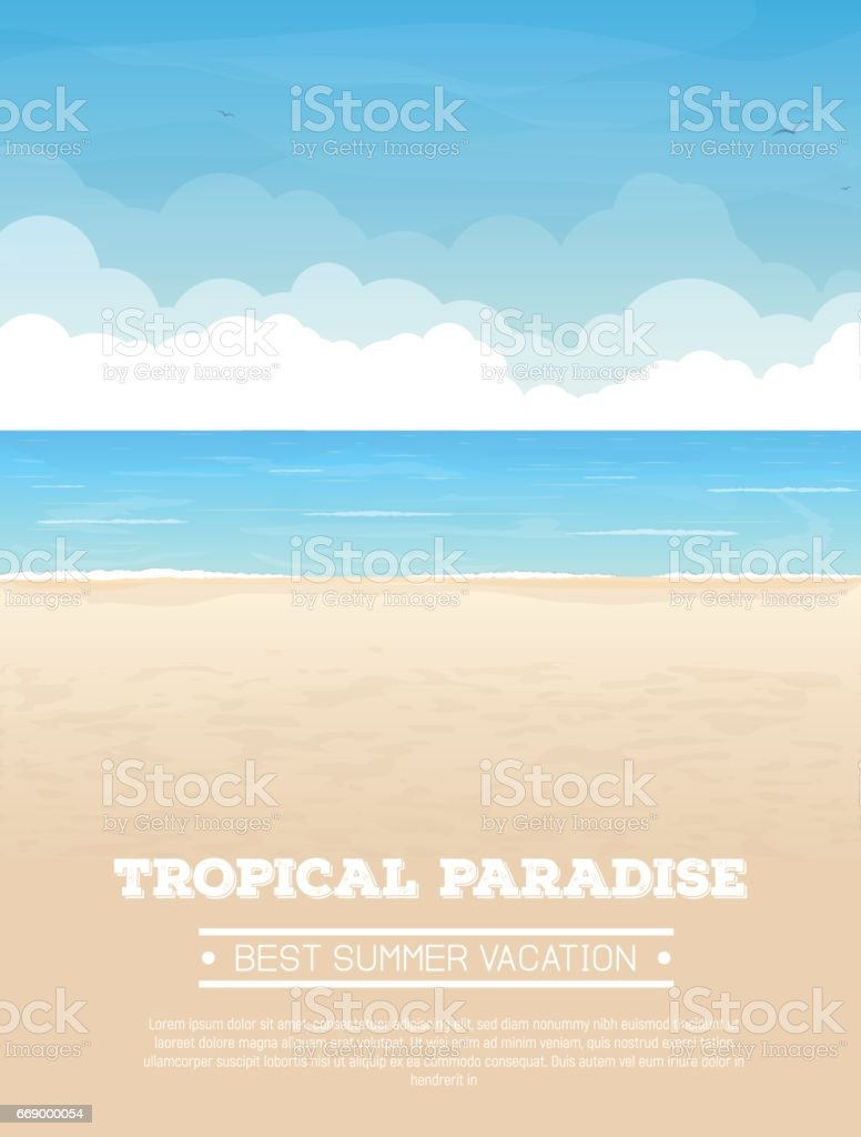 Tropical beach vacation banner - ilustración de arte vectorial