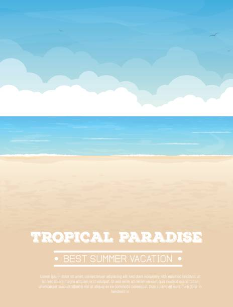 tropical beach vacation banner - beach stock illustrations
