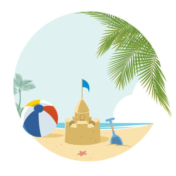 illustrations, cliparts, dessins animés et icônes de plage tropicale  - chateau de sable