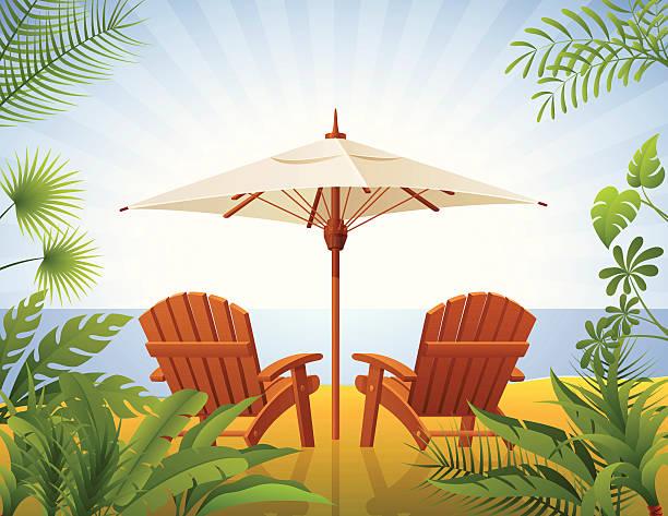 tropischer strand - sonnenstuhl stock-grafiken, -clipart, -cartoons und -symbole