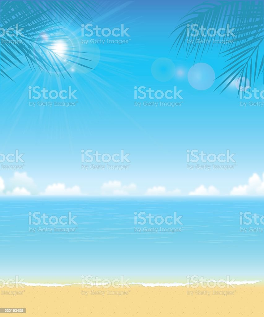 Tropical Beach vector art illustration