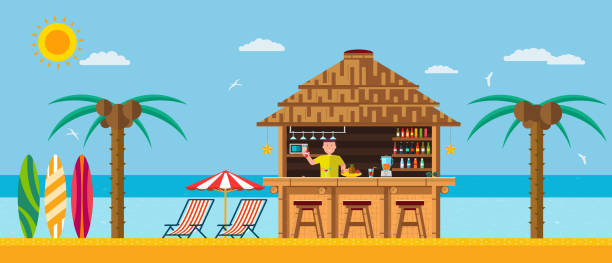 Tropical beach with a bar on the beach, summer vacation on the warm sand with clear water. vector art illustration
