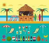 Tropical beach with a bar on the beach, summer vacation