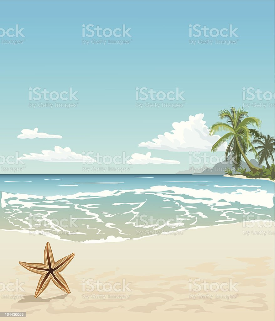 Tropical beach with a starfish, sea view and sand vector art illustration
