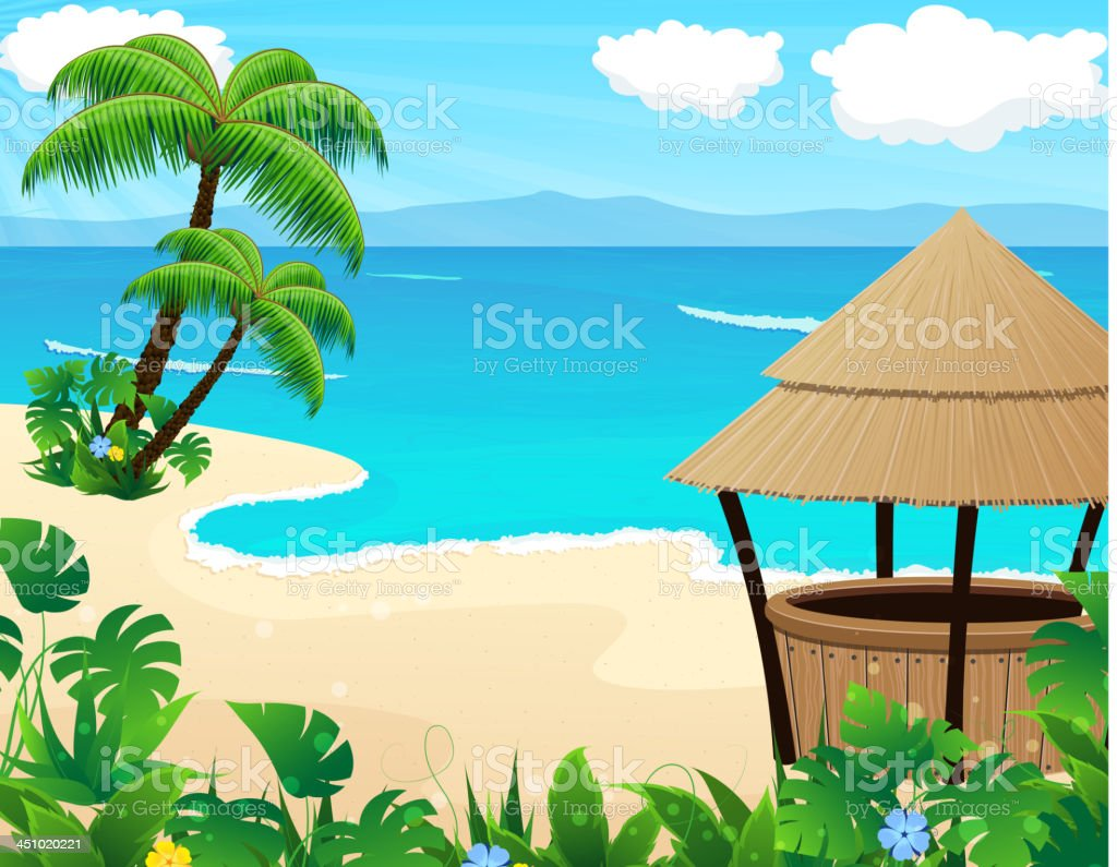 Tropical beach with cocktail Bar royalty-free tropical beach with cocktail bar stock vector art & more images of bar - drink establishment