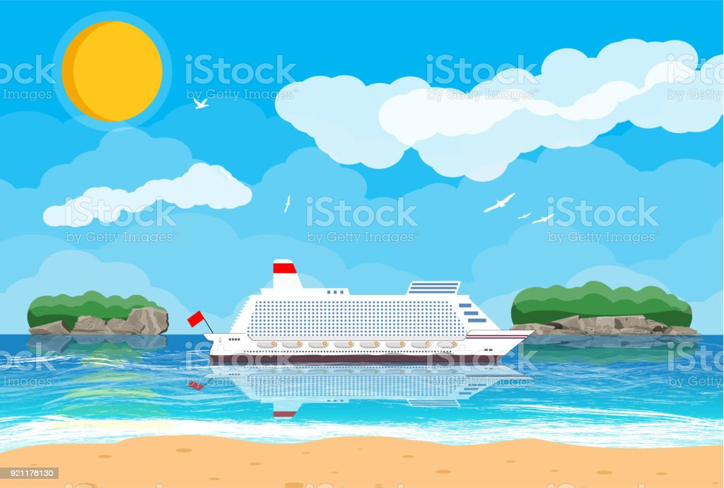 Tropical beach with cruise ship vector art illustration