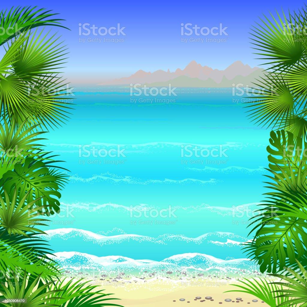 Tropischer Strand Mit Palmen Blatter Vektorframevorlage Stock Vektor